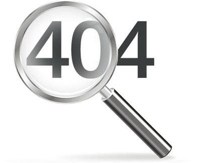 "The number ""404"" with a magnifying glass overtop of it"